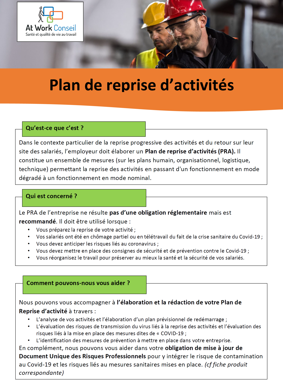 Fiche produit PRA et Covid 19 - At Work Conseil