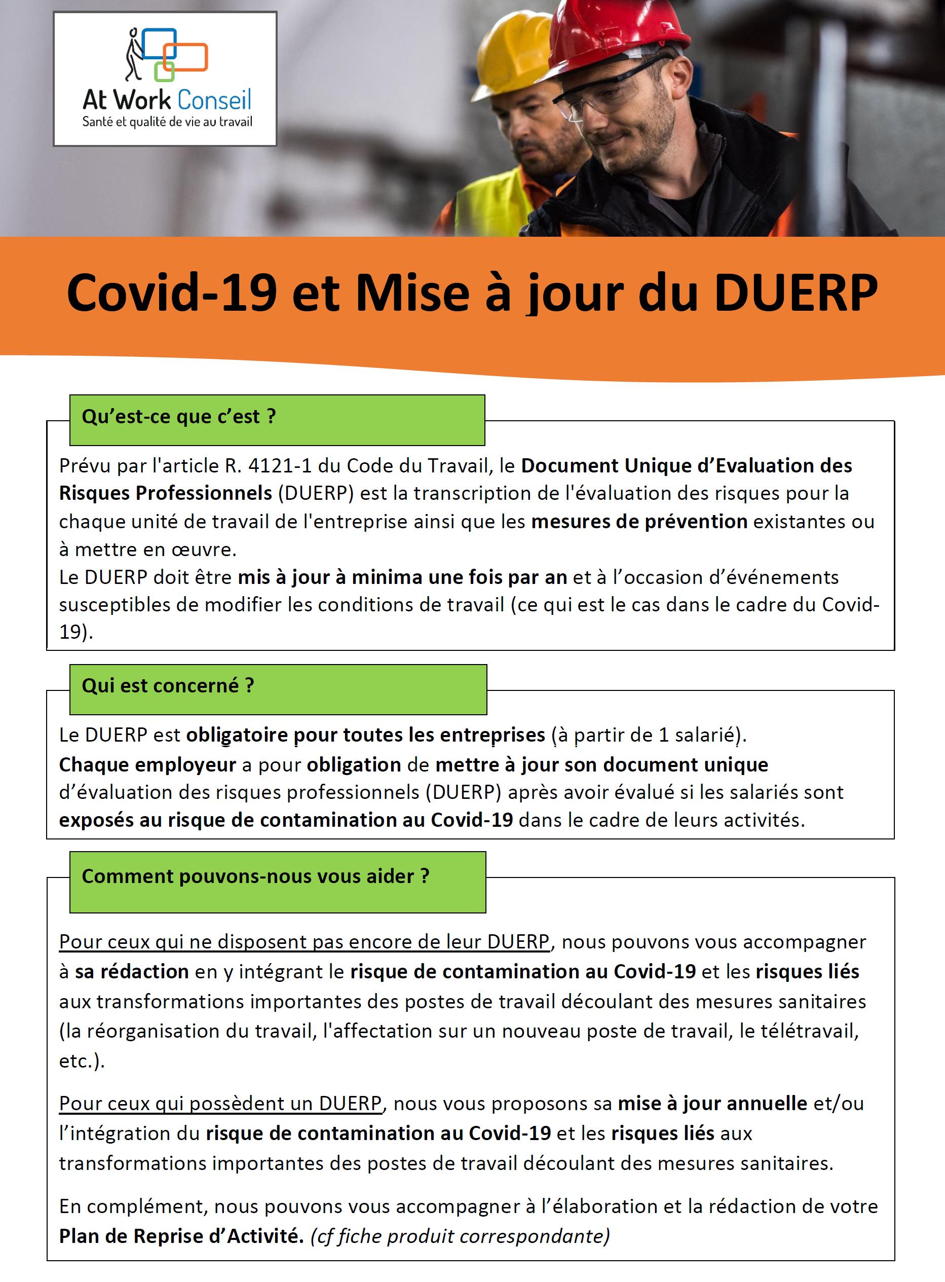 Fiche produit Covid 19 et DUERP - At Work Conseil